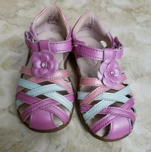 Stride Rite Pearl Finish Pastel Leather Sandals